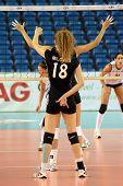 DEBRECEN, HUNGARY - JULY 9: Julia Milovits (in black 18) in action a CEV European League woman's vol