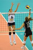 DEBRECEN, HUNGARY - JULY 9: Anita Filipovics (in black 17) in action a CEV European League woman's volleyball game Hungary (black) vs Israel (white) on July 9, 2011 in Debrecen, Hungary.