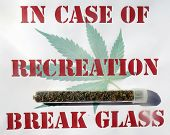 Sign with Marijuana Cigarette aka JOINT in a glass test tube reads IN CASE OF RECREATION BREAK GLASS poster