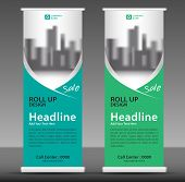 Green Roll Up Banner Template, Flyer Layout Vector, Pull Up, X-banner, Web Banner Design, Business F poster