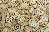 Closeup texture of dried Lotus root, sliced rhizome of lotus flower plant in pale yellow  (Nelumbo n poster