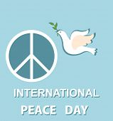 Pastel blue greeting card with paper cut out dove and peace symbol for International Peace day poster