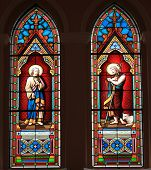 Catholic Stained Glass Window From A Church.