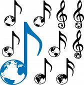 stock photo of eastern hemisphere  - Set of Nine World Music symbols - JPG