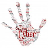 Conceptual cyber security online access technology hand print stamp word cloud isolated background.  poster