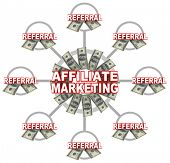 An Affiliate Marketing grid showing the words in the center of the circle and many instances of the word Referral and money all feeding into the central unit of this scheme to make someone rich quick