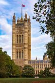 The Victoria Tower at the south-west end of the Palace of Westminster as viewed from the Victoria To poster