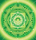 abstract green pattern, mandala of anahata chakra