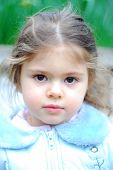 Caucasian Young Kid Girl With Brown Eyes Portrait