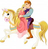 foto of prince charming  - Prince and princess  on white horse - JPG