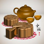 Vector Moon Cake and Tea Set of Mid Autumn Festival