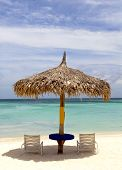Thatched Hut On A Stretch Of Beach In Aruba