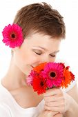 Smelling Bouquet Of Flowers