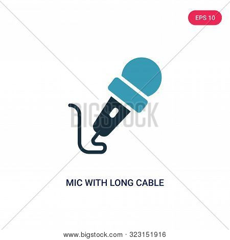 poster of mic with long cable icon in two color design style.