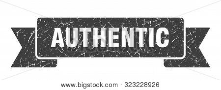poster of Authentic Grunge Ribbon. Authentic Sign. Authentic Banner