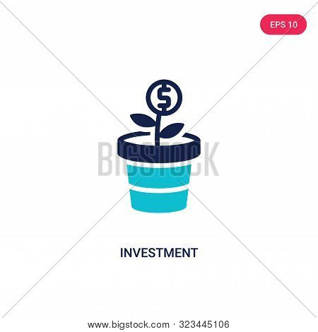 poster of investment icon in two color design style.