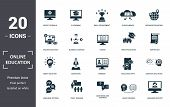 Online Education Icons Set Collection. Includes Simple Elements Such As Video Tutorials, E-learning, poster