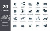 Online Marketing Icon Set. Contain Filled Flat Email Marketing, Mobile Marketing, Statistics, Search poster