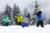 image of snowball-fight  - Group Of Young Friends Having Snowball Fight On Ski Holiday In Mountains - JPG