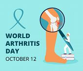 World Arthritis Day In October. Tiny Doctors Treat Rheumatism, Osteoarthritis. Healthcare Flat Conce poster