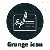 Grunge Signed Document Line Icon Isolated On White Background. Pen Signing A Contract With Signature poster