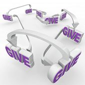 stock photo of charity relief work  - Many Give words connected by arrows representing fund - JPG