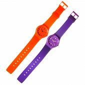 Orange And Violet Plastic Watches Isolated On White