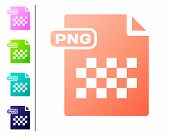 Coral Png File Document. Download Png Button Icon Isolated On White Background. Png File Symbol. Set poster