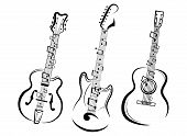 Set Of Stylized Guitars. Collection Of Electric Guitars With Notes. Black And White Illustration Of  poster