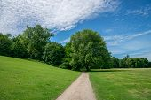 Path Leading Through Green Meadow To Trees Path With Blue Sky And White Fluffy Clouds - Symbol For L poster