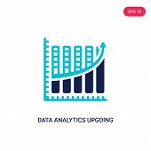 Data Analytics Upgoing Bars Chart Icon In Two Color Design Style. Data Analytics Upgoing Bars Chart  poster