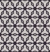 Hand Drawn Abstract Winter Snowflakes Pattern. Stylish Crystal Stars Grid Background. Elegant Black  poster