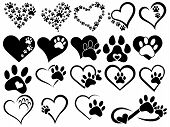 Set Of Hearts With The Paws Of Dogs And Cats. Collection Of Black And White Logos With Footprints Of poster