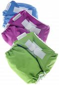 Eco Friendly Cloth Diapers In Green, Purple And Blue