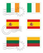 Ireland, Spain And Lithunia - Flags On A Stamp