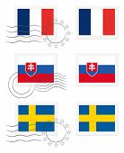 France, Slovakia And Sweden - Flags On A Stamp