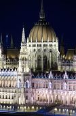 Budapest, spires and dome of Hungarian Parliament building in neo-gothic style