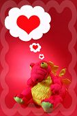 Pink Dragon With Thoughts Of Love And Romance - Valentine poster