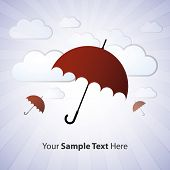 Umbrella with clouds vector illustration