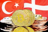 Concept For Investors In Cryptocurrency And Blockchain Technology In The Turkey And Denmark. Bitcoin poster