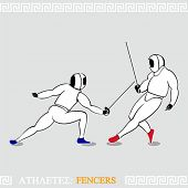 Greek art stylized fencers in protection uniform