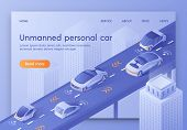 Unmanned Personal Car Banner. Autonomous Smart Cars Traffic Scanning Road, Observe Distance. Future  poster