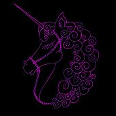 Portrait Of Cute Unicorn. Purple Fantasy Animal With Horn. Side View. Colorful Illustration In Carto poster