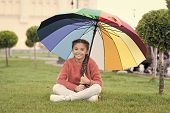 Any Weather Is Good. Rainbow After Rain. Multicolored Umbrella For Little Happy Girl. Positive Mood  poster