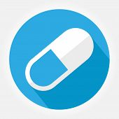 Simple Symbol Of Pill Or Vitamin. Gray Icon With Long Shadow In Bottom Left Corner On Blue Backgroun poster