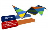 Zigzag.  Economic Development Must Go Its Own Way. Background.business Concept Of Economic Developme poster