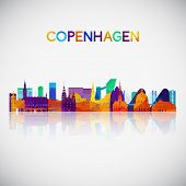 Copenhagen Skyline Silhouette In Colorful Geometric Style. Symbol For Your Design. Vector Illustrati poster