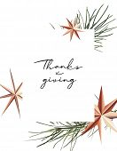 Thanksgiving Poster With Gold Foil Sparkle Stars And Pine Branch. Winter Holidays Decoration. Graphi poster