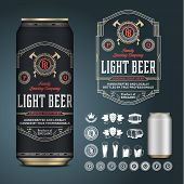 Vector Beer Label. Aluminium Can Mockup. Beer Icons, Badges, Insignia poster