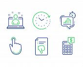 Hand Click, Time Change And Best Manager Line Icons Set. Thumb Down, Statistics Timer And Calculator poster